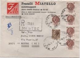 Siracusana £. 20 + M£. 100 X 5 Su Busta Fratelli Miatello Autotrasporti Onara (Padova) Con Annullo Mestre 7.2.78 - 6. 1946-.. Repubblica