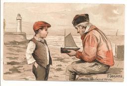 Illustrateur BESNOU - Le Radoub D'un Bateau Enfant Vieillard Publicité Moka Leroux - Künstlerkarten