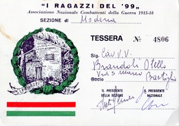 """TESSERA_TESSERE_DOCUMENTO/I-"""" I RAGAZZI DEL 99""""ASSOCIAZIONE NAZ.COMBATTENTI DELLA GUERRA 1915.18 - Vieux Papiers"""