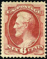 US #137 Grilled Issue XF Mint No Gum 6c Lincoln From 1870 - Unused Stamps