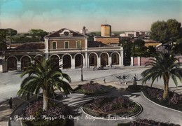 BISCEGLIE-BARI-PIAZZA A.DIAZ-STAZIONE FERROVIARIA-CARTOLINA VERA FOTOGRAFIA-VIAGGIATA IL 1-3-1952 - Bisceglie