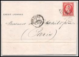 36532 Lettre Cover Rothschild 1865 N°24 Napoléon 80c Rose Lyon Pour Paris GC 2145 - 1849-1876: Période Classique