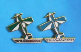2 PIN'S //  ** 2 AVIONS DIFFÉRENTS / EMS / CHRONOPOST / EXPÉDITION COLIS EXPRESS ** . (C. Maunoury) - Transports