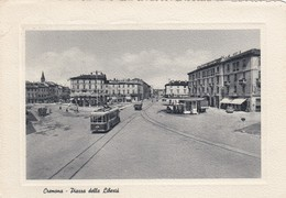 CREMONA-PIAZZA DELLA LIBERTA-FILOBUS + DISTRIBUTORE BENZINA AGIP E ESSO-CARTOLINA VIAGGIATA IL 3-7-1956 - Cremona