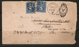 CHILE   1894 COVER REDIRECTED FROM New York To Philadelphia (17/VII/94) (OS-488) - Chile
