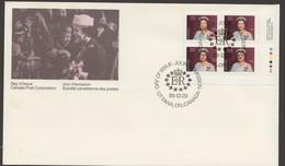1988  38¢ Queen Elizabeth Definitive Sc 1164  LR PLate Block - Omslagen Van De Eerste Dagen (FDC)