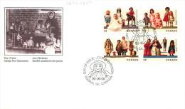 1990  Antique Dolls  Sc 1274-7   Block Of 4 Different - Omslagen Van De Eerste Dagen (FDC)