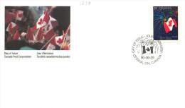 1990  Canada Day  Flag And Fireworks  Sc 1278 Single Sc 1278 - Omslagen Van De Eerste Dagen (FDC)