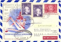 AUTRICHE SALZBURG 2 BALLONPOST 22.X.1950 - HARD / VORARLBERG TàD 20.10.50 + KUFSTEIN 2 Du 24.X.50 - Entiers Postaux