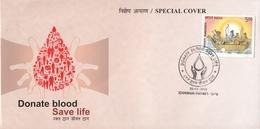 INDIA 2019  Medicine  Donate Blood  Save Life  Khanna  Special Cover  # 20644   C&D Inde  Indien - Medicine
