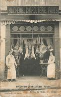 34 BEZIERS CARTE PHOTO BOUCHERIE CHARCUTERIE FAGES 6 RUE DE L ORBE BEZIERS LES PATRONS PROPRIETAIRES EN 1906 - Beziers