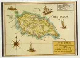 AK  Orientierungskarte Map Isle Dieu - Cartes Géographiques