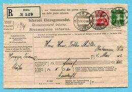 Internes Einzugsmandat Gestempelt Stäfa 1912 - Lettres & Documents