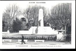 NARBONNE Promenade De La Gare & Monument Ferroul CPA Ecrite En 1936 TBE - Narbonne