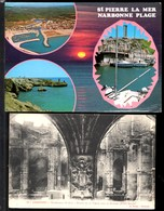 2 Cartes Postales NARBONNE-Plage Saint Pierre La Mer (CPSM) + Cathédrale St Just,Statue De La Vierge (CPA Neuve) - Narbonne
