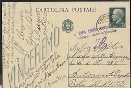 POSTA MILITARE - INTERO VINCEREMO CENT 15 DA CISTERNINO 10.01.1943 PER MILITARE P.M. 1 - 1900-44 Vittorio Emanuele III