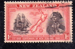 NEW ZEALAND NUOVA ZELANDA 1940 CAPTAIN COOK MAP 1p  USATO USED OBLITERE' - Used Stamps