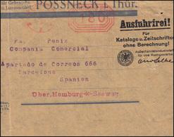 AFS Auf Briefstück PÖSSNECK 25.4.1923 Ausfuhrfrei-Vermerk Nach Barcelona/Spanien - Berufe