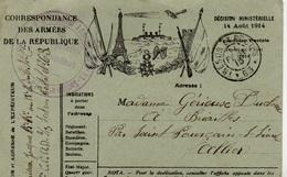 CP-  Correspondance Des Armées De La République- 2 Drapeaux- Médaille- - Cartes De Franchise Militaire