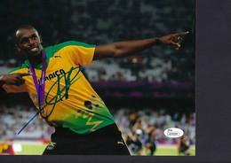 PHOTO ATHLÉTISME - SPORT : USUAN BOLT - Photo Signée  Dim.250x200 Mm - Athletics