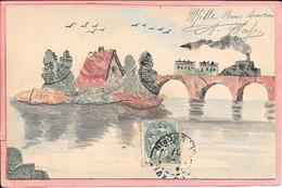 Paysage Fait à Partir De Timbres Ile Pont Train Avec Illustration Manuelle Parfait état - Unclassified