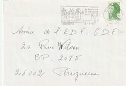 """Lettre De """"Thiviers"""" (Dordogne, 24) Du 03-03-1987, """"Centre De Tourisme En Périgord Vert"""" - Roulette Liberté 1.90 - Mechanical Postmarks (Advertisement)"""