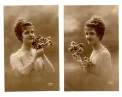 Lot De 2 CPA -  Thème : Une Jolie Jeune Fille Avec Un Bouquet De Fleurs - Série N° 1796 - Edit. FURIA - Women