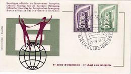 """Belgique 1961: Michel-No.1043-1044 """"EUROPA-CEPT"""" FDC O BRUXELLES 15-9-1956 - Europa-CEPT"""