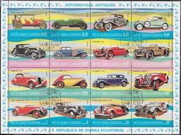 GUINEA EQUATORIALE - 1977 - AUTO ANTICHE  - 16 VALORI IN BLOCCO USATO - ( YVERT 105+AV 89- MICHEL 1095/1110) - Automobili
