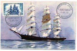 MARINE = 17 LA ROCHELLE 1955 = CARTE MAXIMUM + CACHET PREMIER JOUR ' FRANCE CANADA' - Maximum Cards