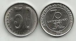 Venezuela 50 Centimos 2010. Y#100 70th Anniversary Of The Central Bank Of Venezuela - Venezuela