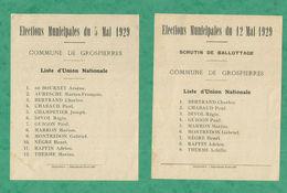 ELECTIONS MUNICIPALES GROSPIERRE 05 12 MAI 1929 ARDECHE UNION NATIONALE RUOMS - Documents Historiques