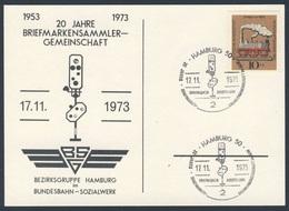 Deutschland Germany 1973 Karte Card - 20 Jahre Briefmarkensammler-Gemeinschaft, 1953-1973 Hamburg/ Stamp Collectors Ass. - Treinen
