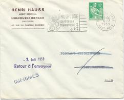 LETTRE 1959 AU TARIF IMPRIMES POUR LA SARRE  AVEC TIMBRE A 10 FR MOISSONNEUSE - 1921-1960: Moderne