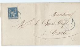 LETTRE  Destination CORSE Corte - 1849-1876: Période Classique