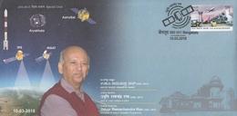 INDIA 2018 Space Scientist  U.R. Rao  Astrosat  Aryabhatta  IRS  Insat  Satellites  Special Cover # 20690 D Inde Indien - Covers & Documents