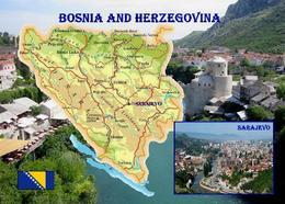 Bosnia And Herzegovina Map New Postcard Bosnien Und Herzegowina Landkarte AK - Bosnien-Herzegowina