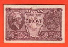 5 Lire 1944 Italia Elmata Luogotenenza Bolaffi Cavallaro Giovinco - [ 1] …-1946: Königreich