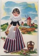 (235) Barcelona Meisje -  Kap- En Schortstof Op De Kaart Gekleefd - Drie Windmolens - Waterkruik - Mode