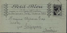 Guerre 14 Lettre Petit Bleu En Franchise Militaire FM Facteur Fils Téléphone CAD Trésor Poste Texte 12 Mai 1917 - Marcophilie (Lettres)
