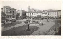 POSTAL  MALAGA  -ANDALUCIA  - ACERA DE LA MARINA Y MONUMENTO AL MARQUÉS DE LARIOS   (FOT. L. ROISIN) - Málaga