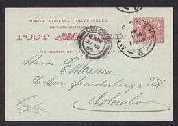 Australia - Victoria: Stationery Postcard Melbourne To Colombo Ceylon, 1908, Queen (traces Of Use) - 1850-1912 Victoria