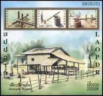 412 - Laos 2019  Bloc Feuillet / S-Sheet  New Issue Antique Mortar - Laos