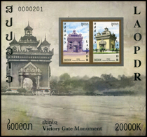 410 - Laos 2019  Bloc Feuillet / S-Sheet  New Issue Victory Gate Monument (Patuxay)  Non Dentele-Imperforate - Laos