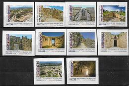 """GREECE 2019 Tourist 10 Collectible Self-adhesive Special Personalized Stamps From The Booklet Of  """"MYCENAE"""" UNUSED LUX - Greece"""