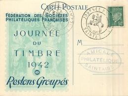 17  SAINTES  Journée Du Timbre 1942 Fédération Des Sociétés Philatéliques Françaises Dos Vierge - Saintes