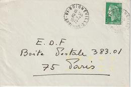 Lettre 1972 Cheffer 0.30 De Boigneville Pour Paris Oblit. Manuelle + Indexation Jaune - 1961-....