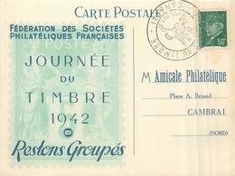 59 CAMBRAI   Journée Du Timbre 1942 Fédération Des Sociétés Philatéliques Françaises Dos Vierge - Cambrai