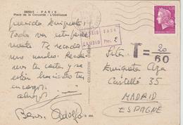 CPM 1968 Cheffer 0.30 De France Pour L' Espagne Taxée - Postmark Collection (Covers)