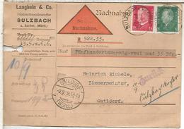 ALEMANIA REEMBOLSO SULZBACH A GAILDORF 1929 - Allemagne
